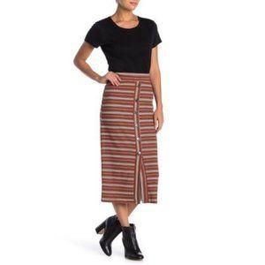 NSR Marissa Stripe Button Front Midi Skirt